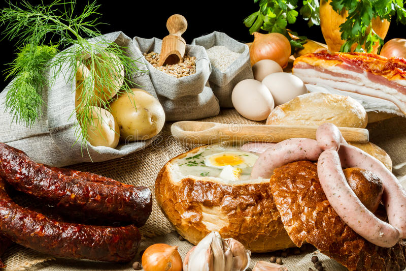 Soup in bread for easter breakfast royalty free stock photos