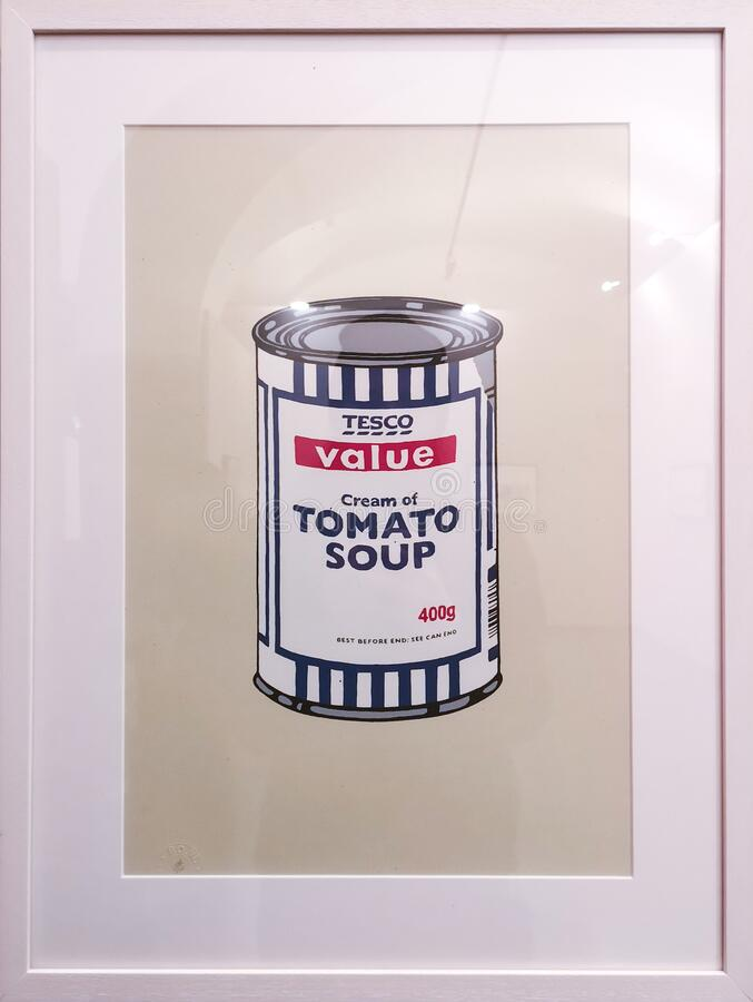 Soup Can, Banksy 2005. Soup Can, an artwork done by the anonymous English street graffiti artist Banksy in 2005. A silkscreen print on paper, work reminiscent of royalty free stock images