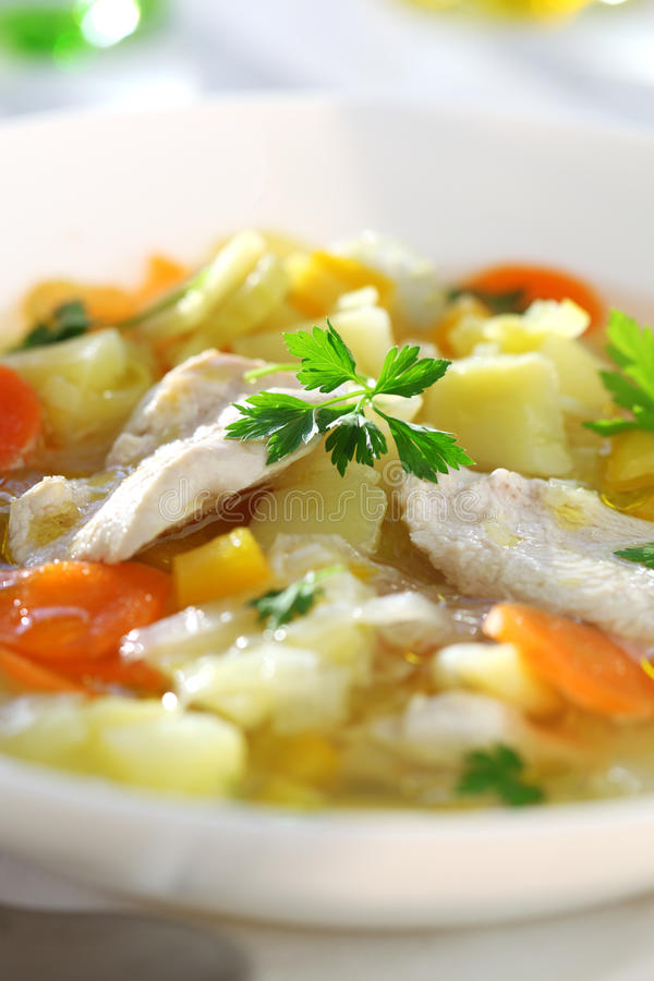 Soup with chicken stock photography