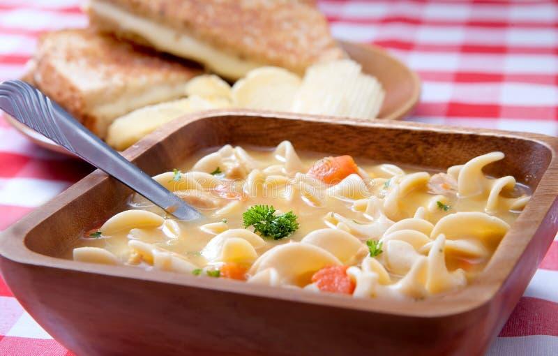 Soup closeup and sandwich stock image
