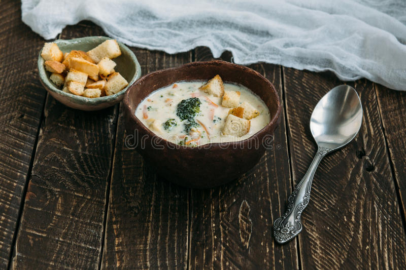 Soup with croutons. stock photos