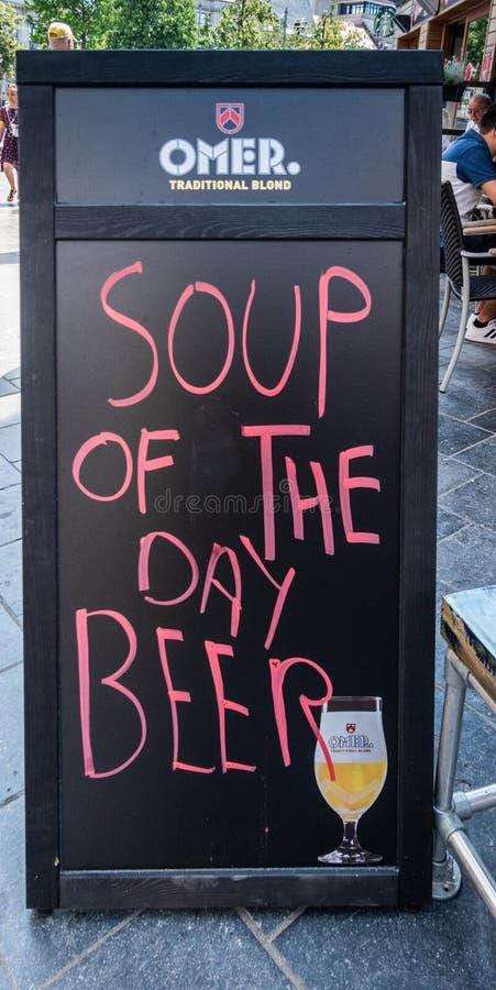 Soup of the Day, beer, in Antwerpen, Belgium royalty free stock photos
