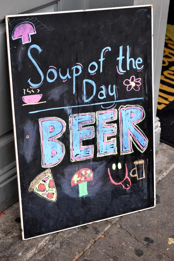 Soup of day is beer stock photos