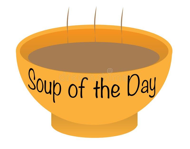 Soup of the Day Bowl. A soup of the day bowl over a white background stock illustration