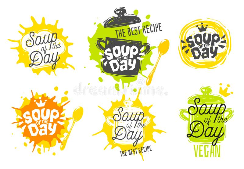 Soup of the day, sketch style cooking lettering icons set. stock illustration