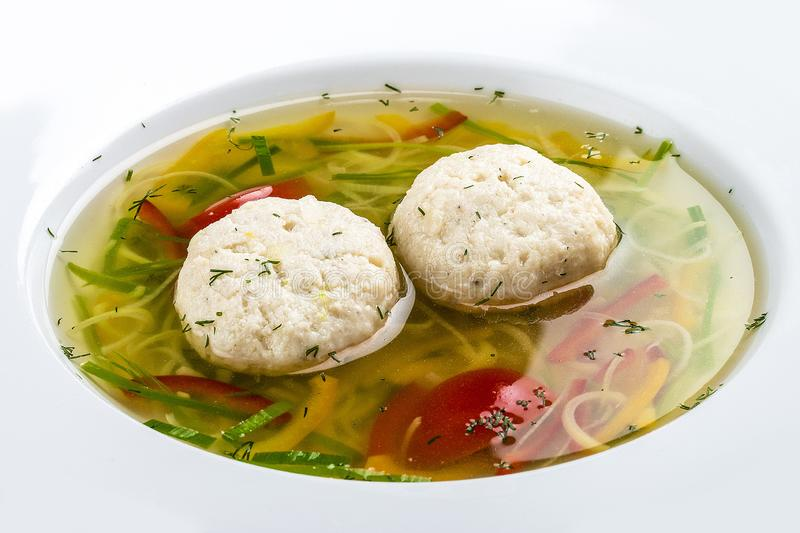 Soup with dumplings from a pike perch. stock images