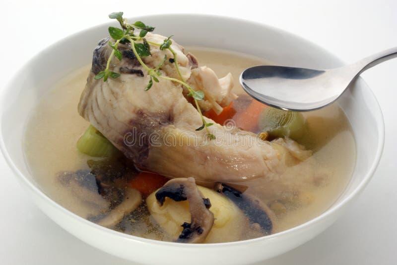 soup för fiskchampinjonpotatis arkivbild