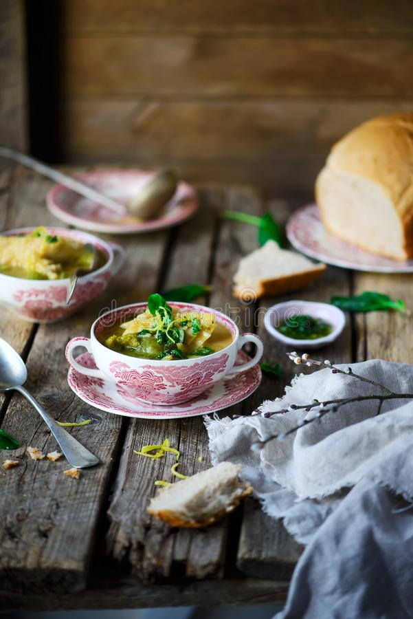 Soup with green vegetables and sea bass. Style rustic.selective focus royalty free stock images