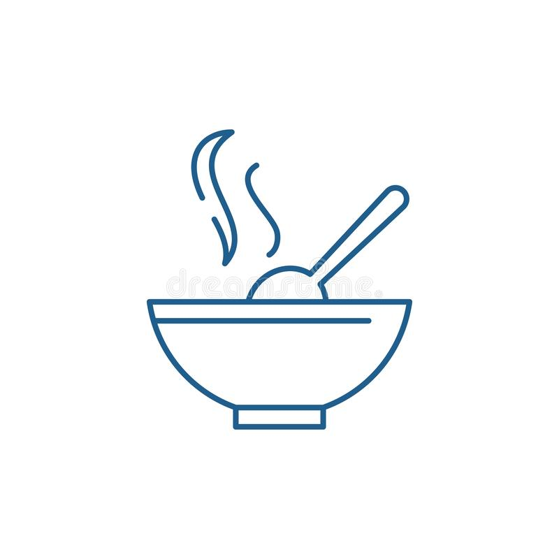 Soup line icon concept. Soup flat  vector symbol, sign, outline illustration. royalty free illustration