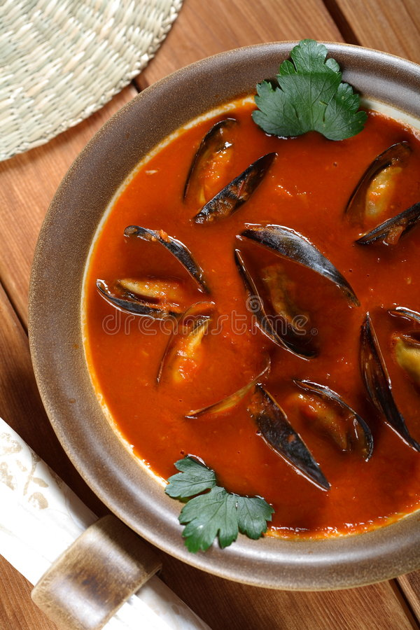 Soup made from seafood stock image