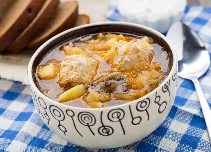 Download Soup with meat balls stock image. Image of bowl, traditional - 39879303