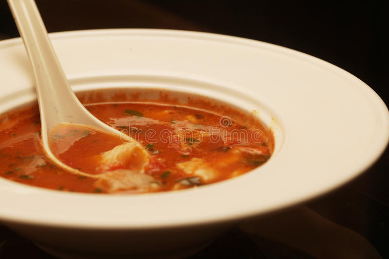 Soup with meat and vegetables. Delicious veal stew soup with meat and vegetables royalty free stock photos