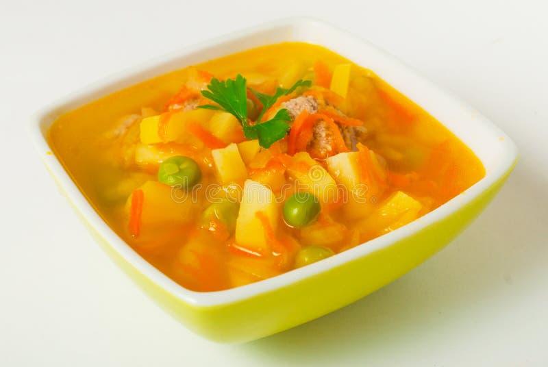Soup med meatballen arkivfoto
