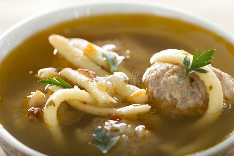 Soup med meatballs arkivbilder