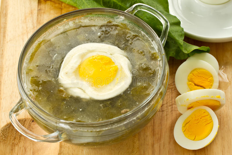 Soup med sorrel royaltyfri bild