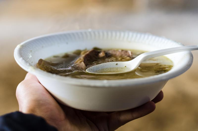 The soup of mote or patasca is a delicious and very popular soup in the area of the Andes stock image