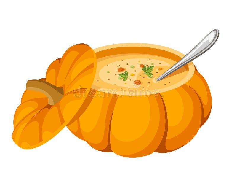 Soup in pumpkin. stock illustration