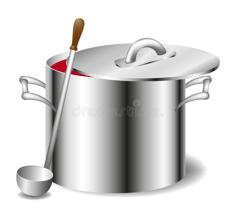Soup (sauce) in a pot vector illustration