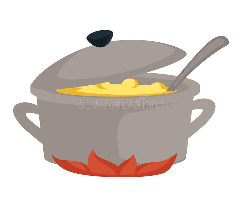 Soup in saucepan or stove broth or bouillon cooking dish stock illustration
