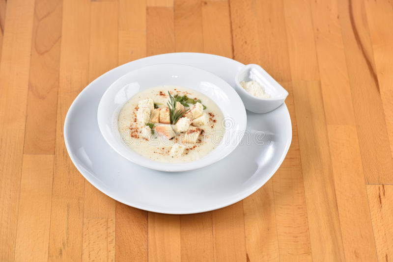 Soup Sparrowgrass With Cream. Meatball Sandwich served with potato stock photos