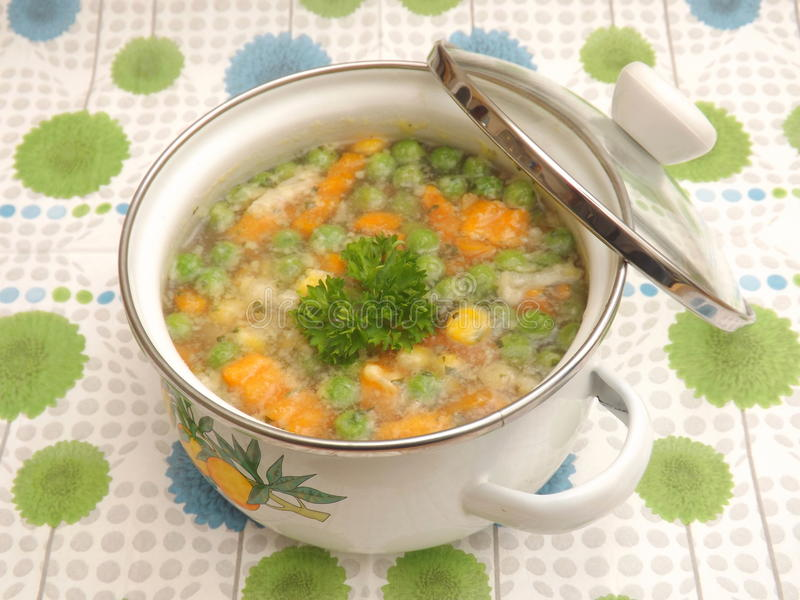 Soup of vegetables. A soup of mixed vegetables stock images