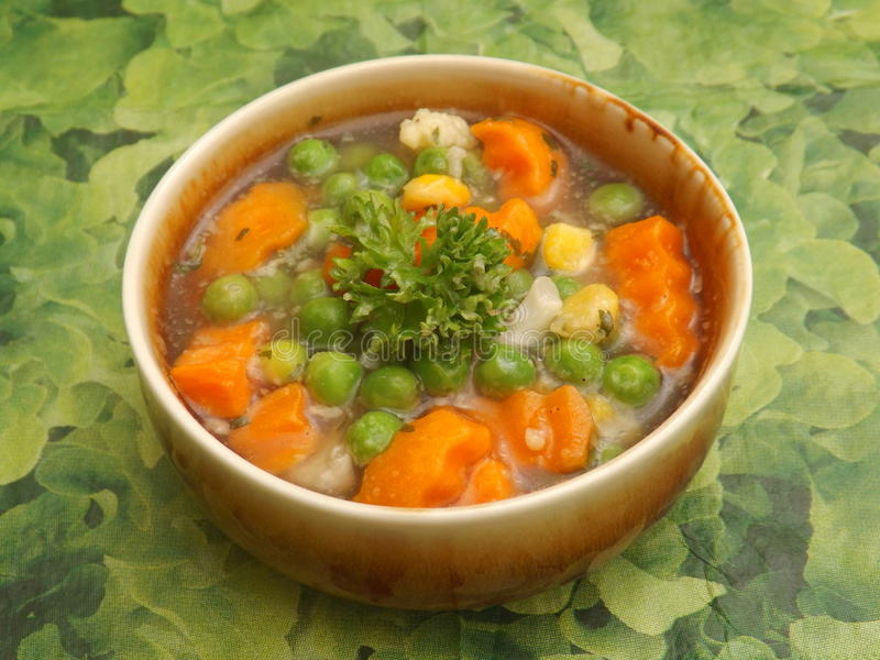 Soup of vegetables. A soup of mixed vegetables stock image