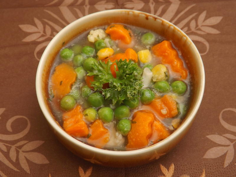 Soup of vegetables. A soup of mixed vegetables stock photos