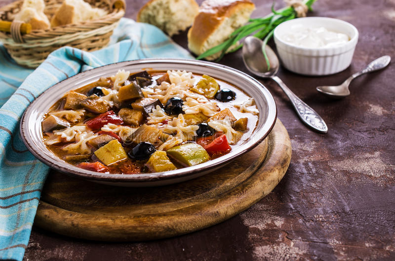 Soup with vegetables. And pasta. Selective focus stock image