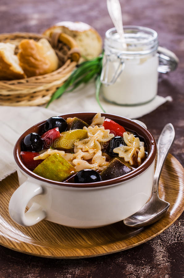 Soup with vegetables. And pasta. Selective focus royalty free stock photography