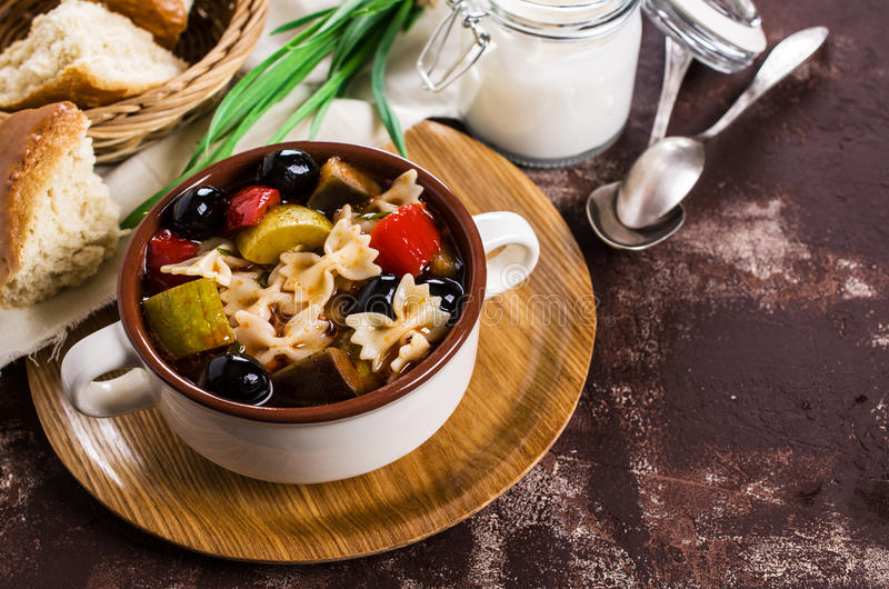 Soup with vegetables. And pasta. Selective focus stock photography