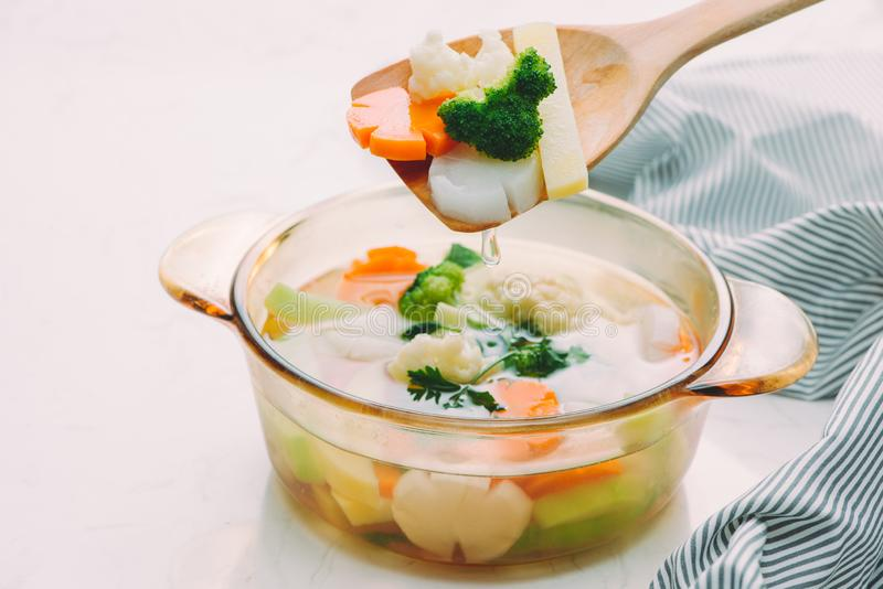 Soup vegetables with selective focus.  stock image
