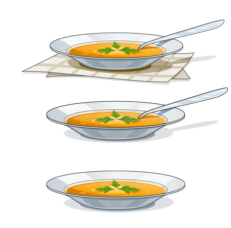 Download Soup In White Plate With Spoon Stock Vector - Illustration of kitchen, eating: 22073260