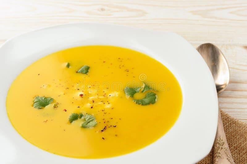 Soupe à carotte avec du feta et la coriandre images libres de droits
