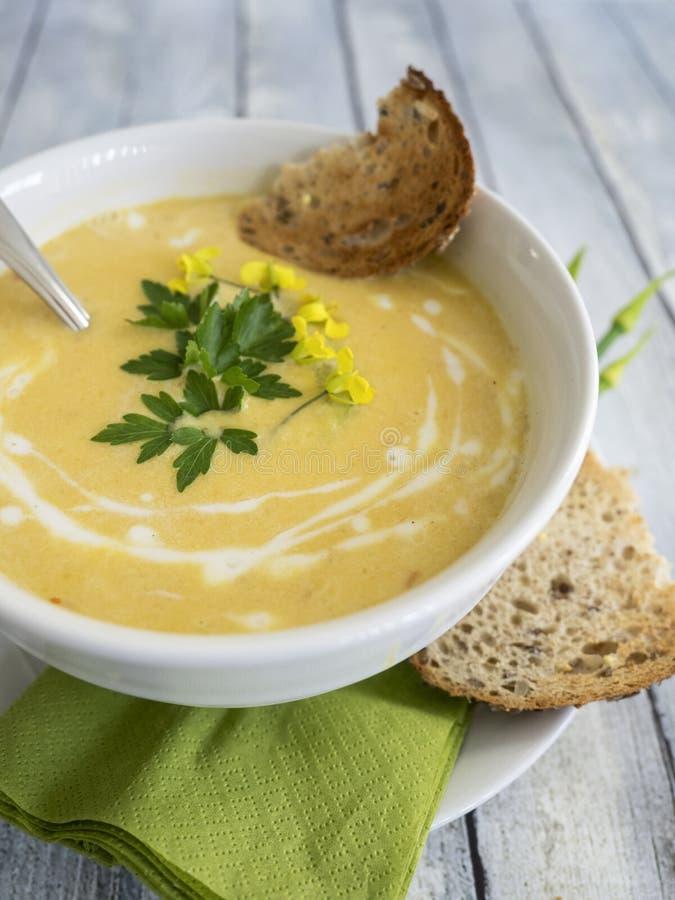 Soupe à courge de Butternut photographie stock libre de droits