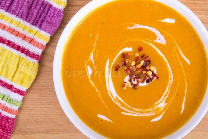 Soupe à crème de courge de Butternut image libre de droits