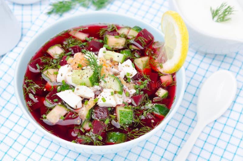 Soupe à la betterave froide avec des concombres, des oeufs et des verts, vue supérieure photos libres de droits