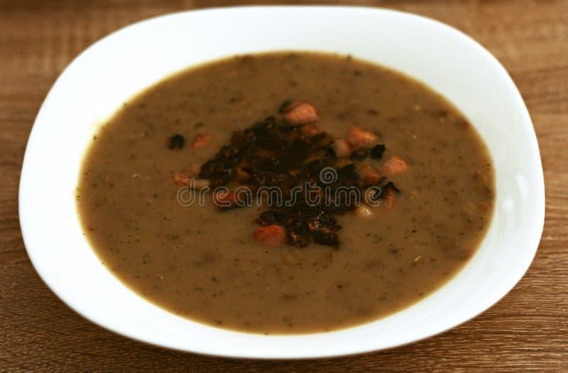 Soupe à Lentin avec le lard et les oignons rôtis photos stock