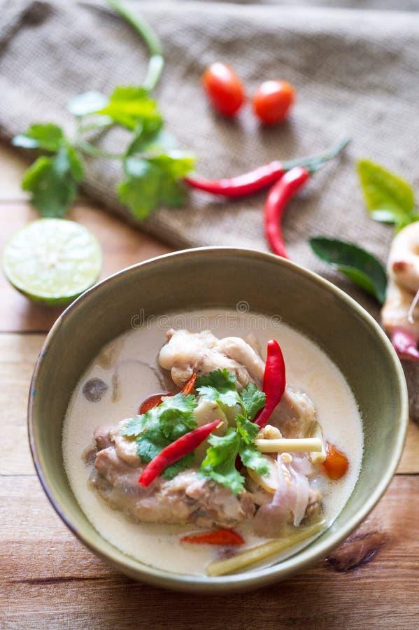 Soupe à noix de coco de poulet image libre de droits