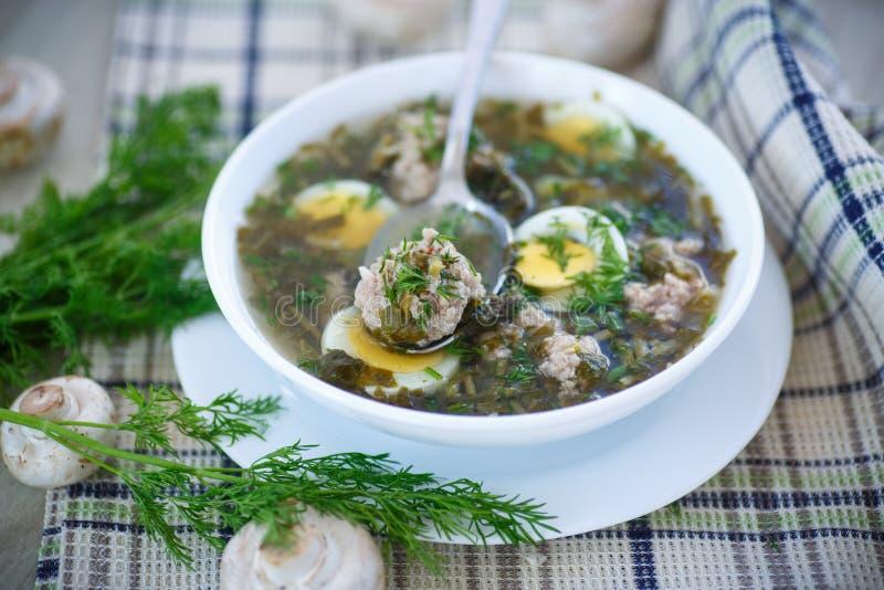 Soupe à oseille avec des boulettes de viande et des oeufs images libres de droits
