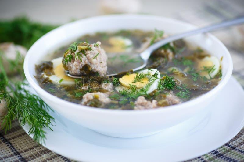 Soupe à oseille avec des boulettes de viande et des oeufs image libre de droits