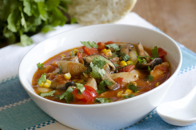 Soupe à pâtes de poulet photographie stock libre de droits
