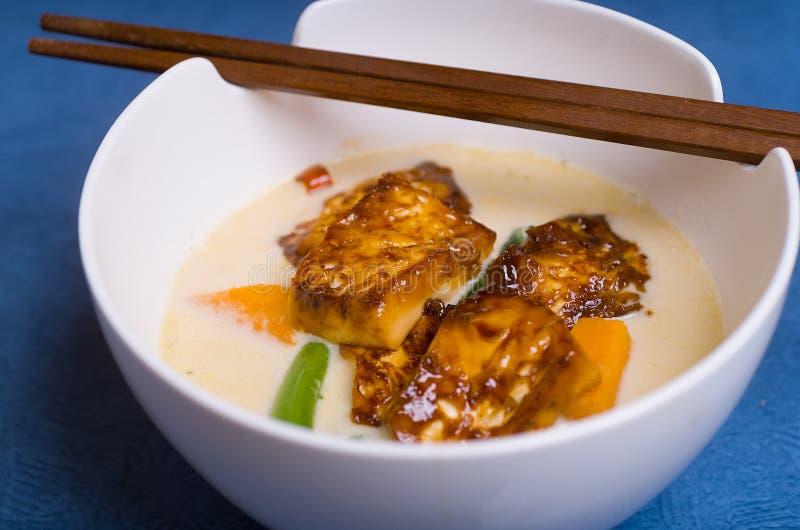 Soupe à piment et à Ginger Tofu image libre de droits
