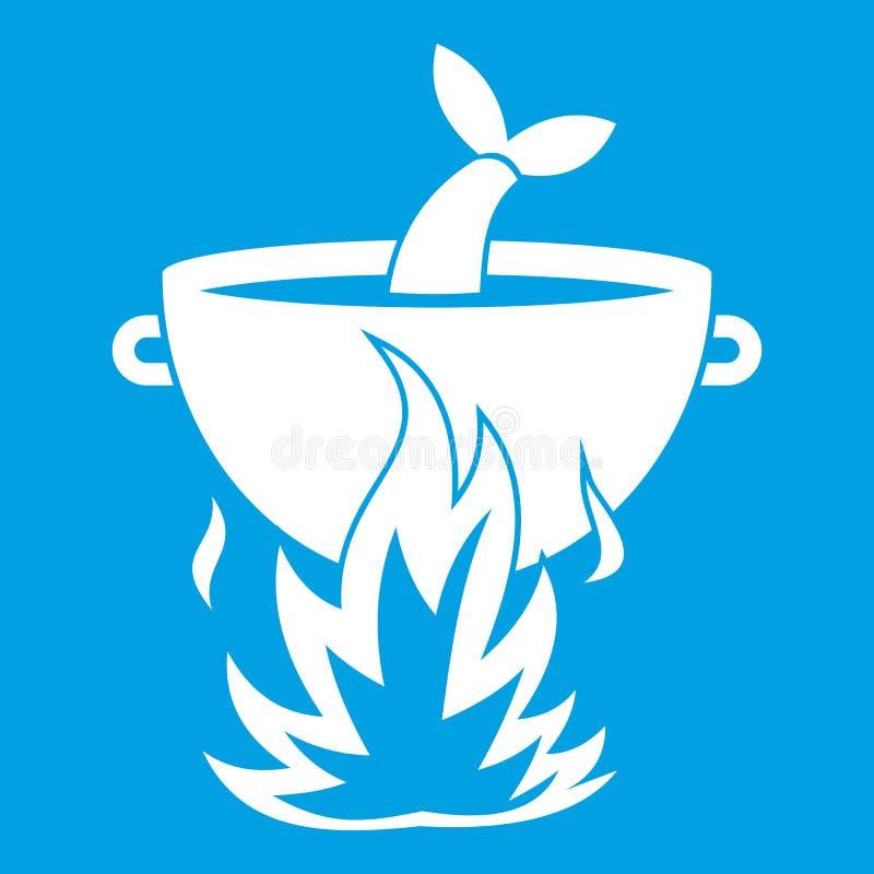 Soupe à poissons sur un blanc d'icône du feu illustration stock