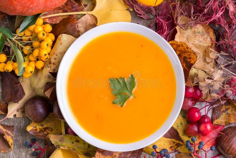 Soupe à potiron d'automne avec le fond coloré photographie stock libre de droits