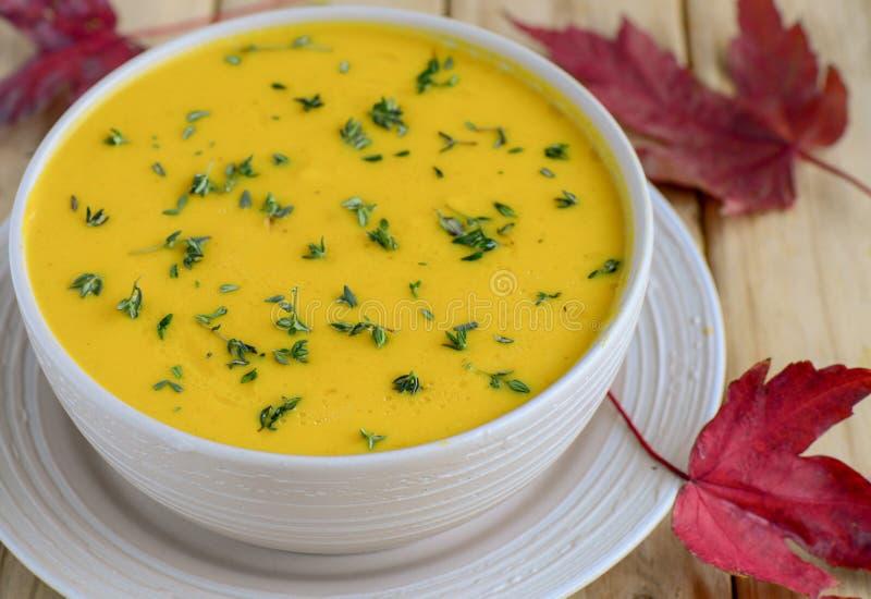 Soupe à vegan de romarin de potiron photo libre de droits