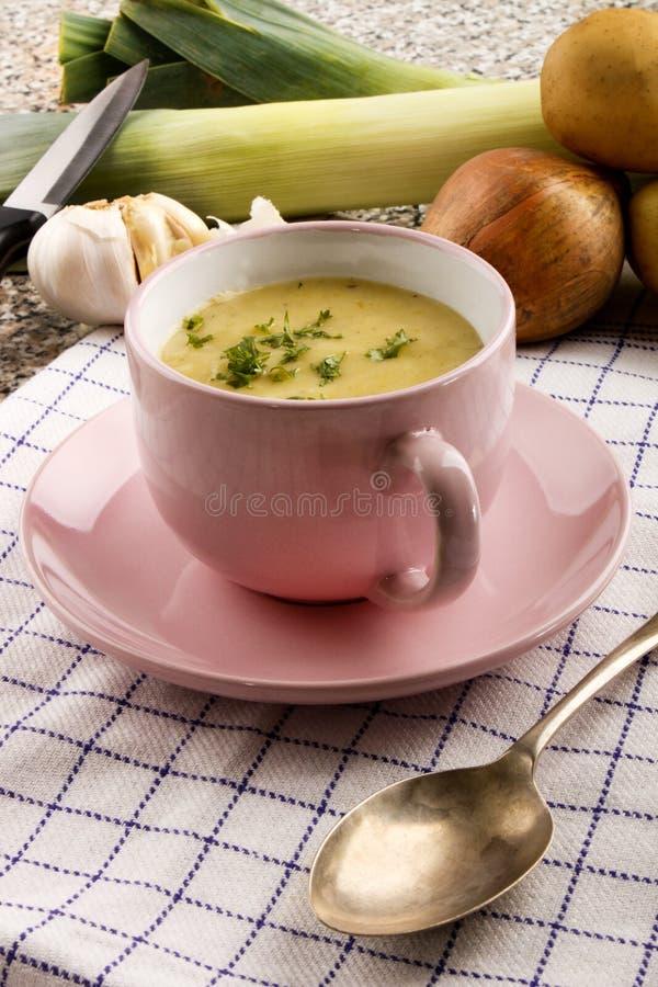 Soupe écossaise de poireau et aux pommes de terre dans une tasse image libre de droits