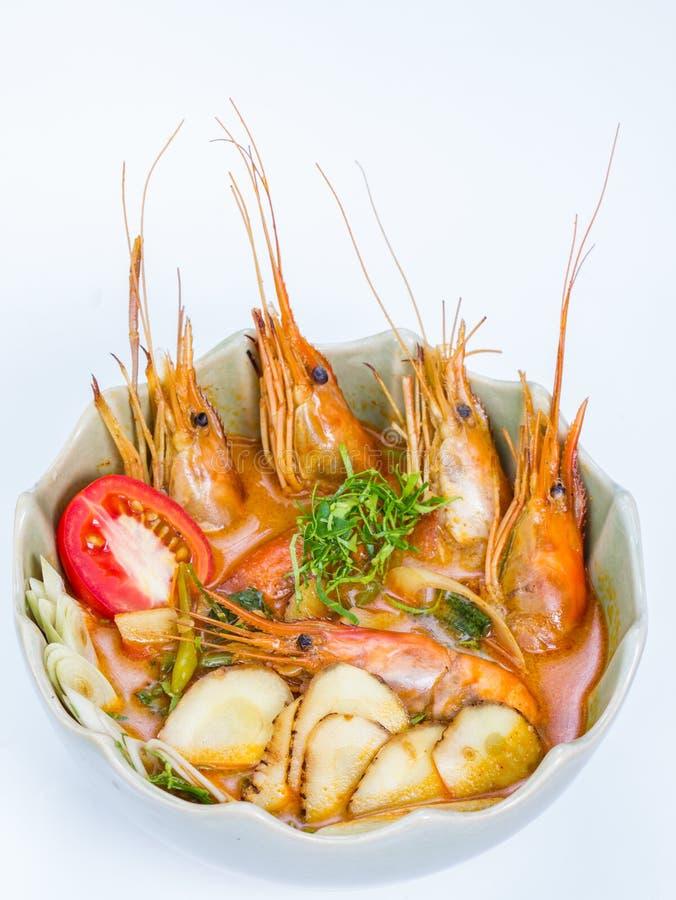 Soupe épicée à Tom Yum avec des crevettes qui est connue dedans comme Tom yum photos stock