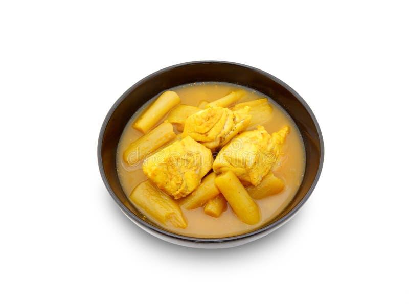 Soupe aigre chaude jaune avec les poissons et le légume image stock