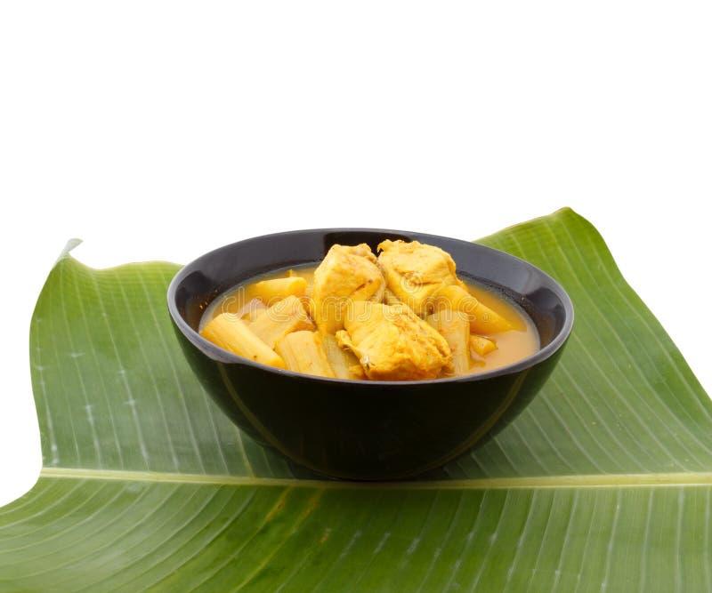 Soupe aigre chaude jaune avec les poissons et le légume, délicieux photos libres de droits