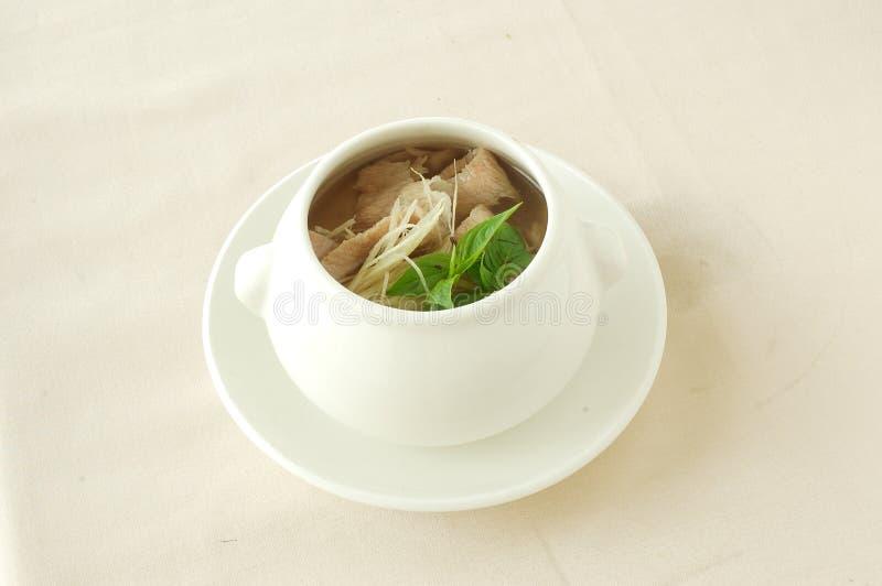 Soupe coupée en tranches épicée à porc photos libres de droits